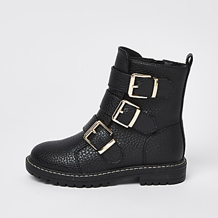 Girls black gold buckle ankle boots