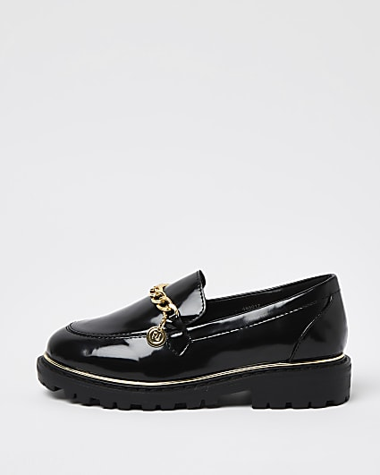 Girls black gold chain chunky loafers
