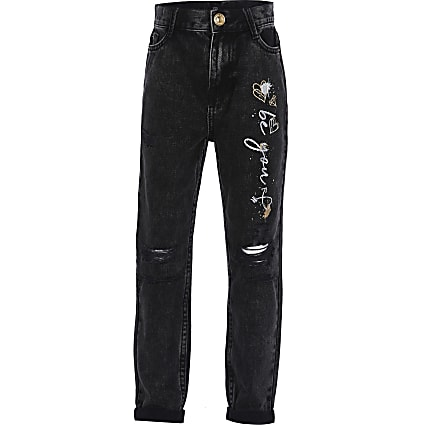 Girls black graffiti print mom jeans