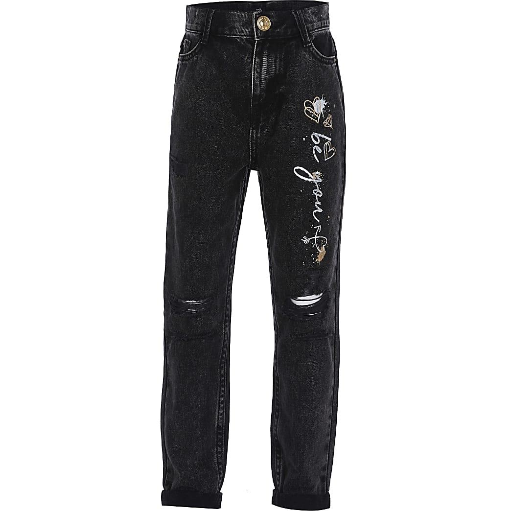 Girls black graffiti print mom jeans