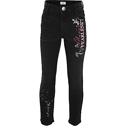 Girls black graffiti straight leg jean