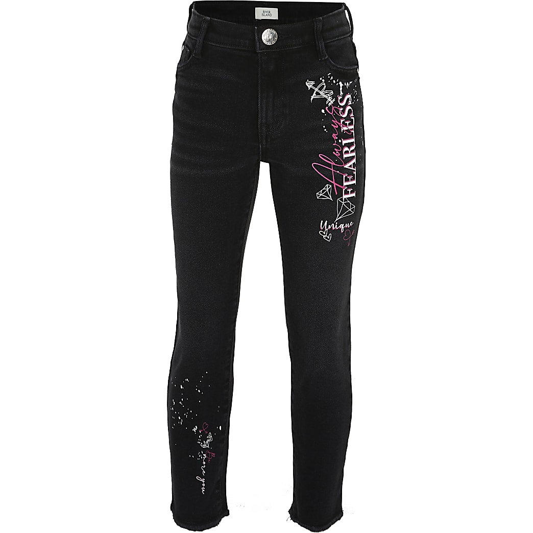 Girls black graffiti straight leg jeans