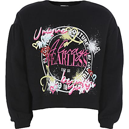 Girls black graffiti sweatshirt