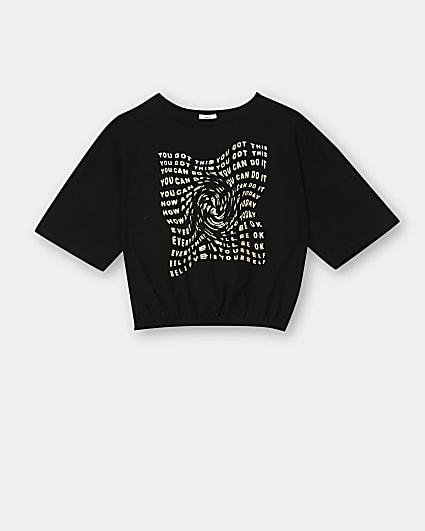 Girls black graphic cinch t-shirt