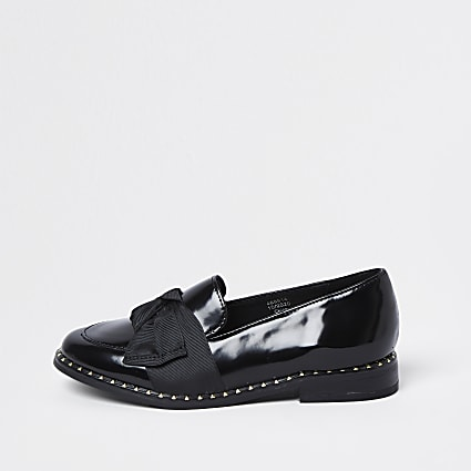 Girls black grosgrain bow loafer shoes