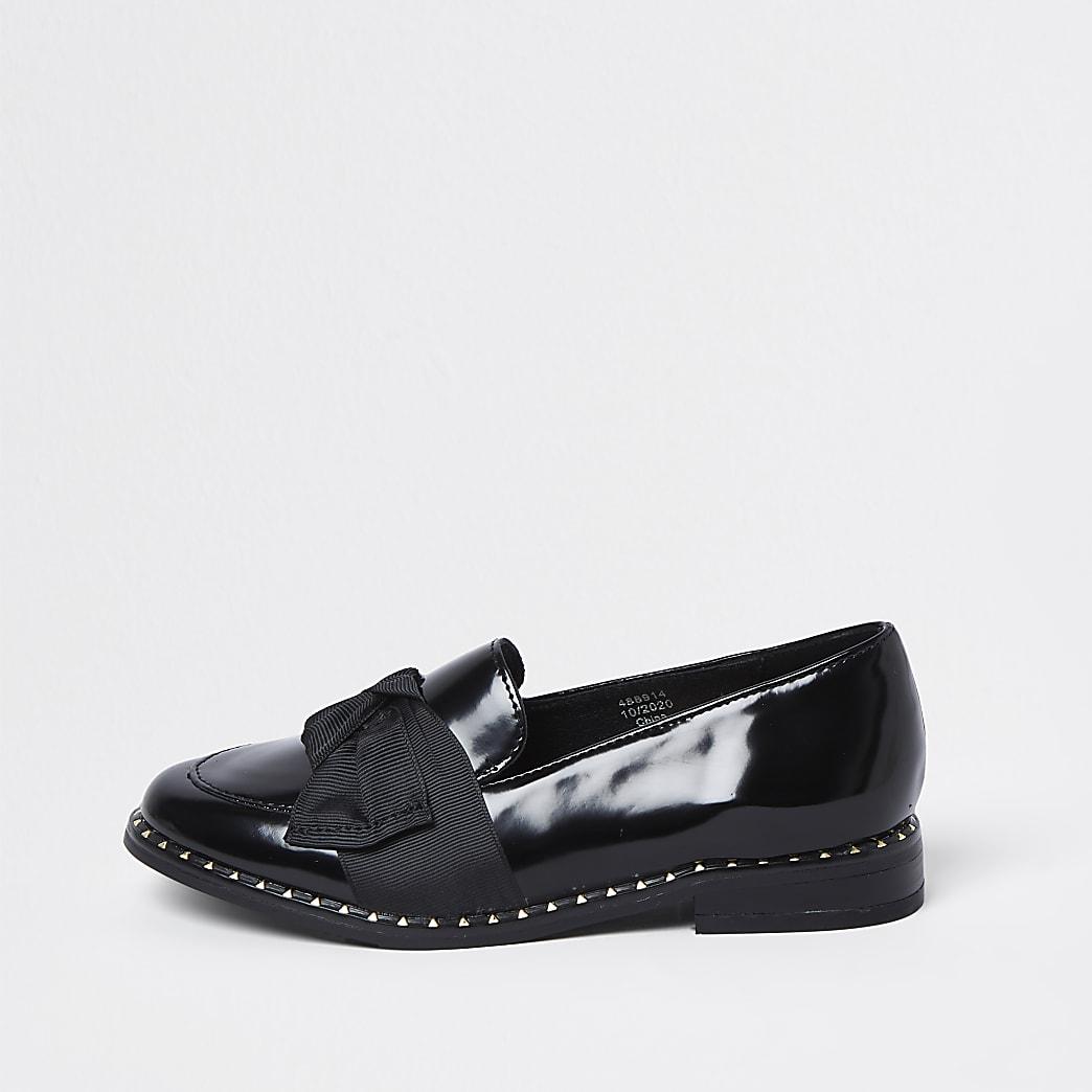 Girls black grosgrain bow loafer shoes