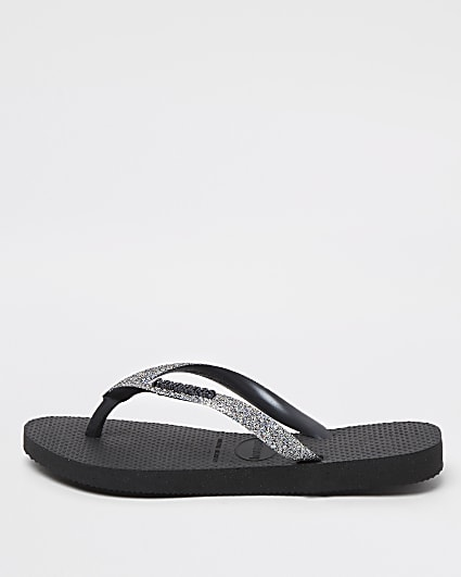 Girls black Havaianas glitter flip flops