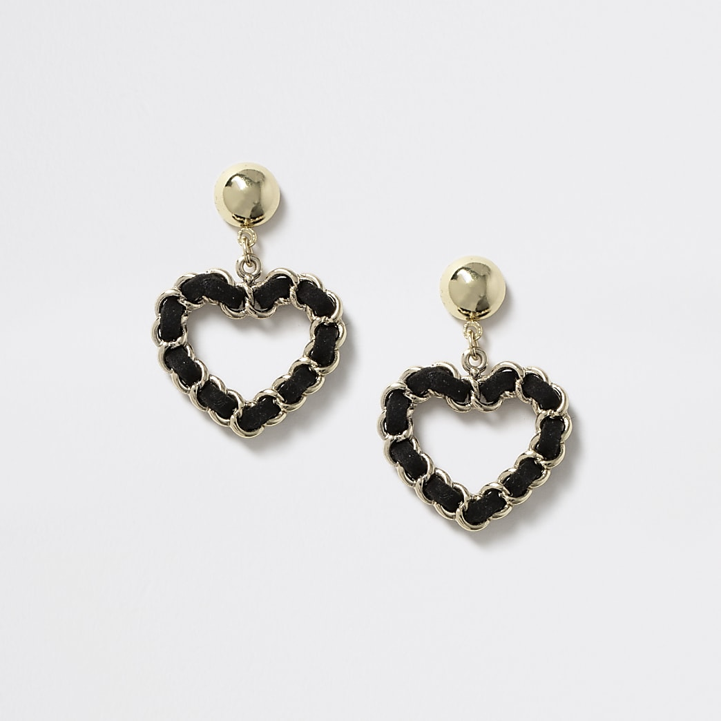 Girls black heart chain stud drop earrings
