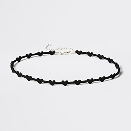 Girls black heart choker necklace