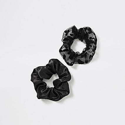 Girls black heart organza scrunchie 2 pack