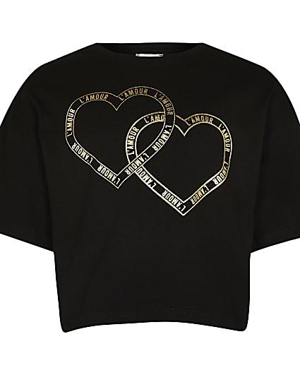 Girls black heart slogan t-shirt