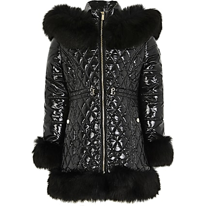 Girls black high shine faux fur hem puffer