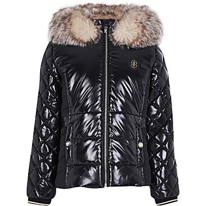 Girls Black High Shine Harvey Puffer