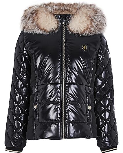 Girls black high shine hooded puffer coat