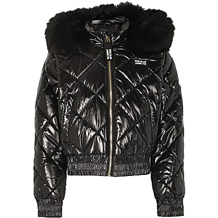 Girls black high shine padded bomber