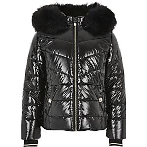 Manteau matelassé noir ultra brillant pour fille