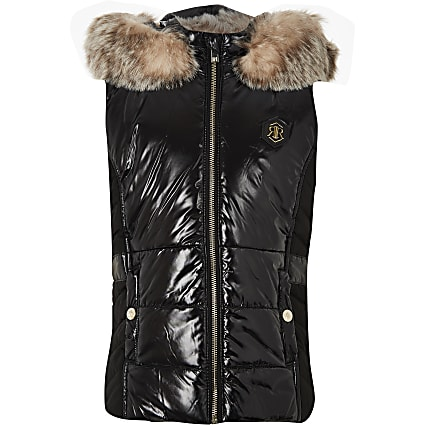 Girls black high shine padded gilet
