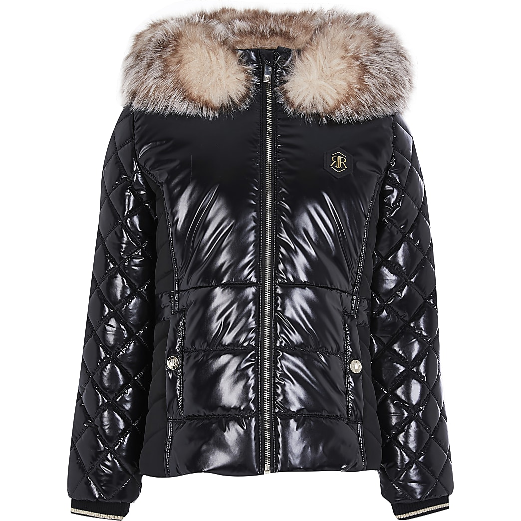 Girls black high shine padded jacket