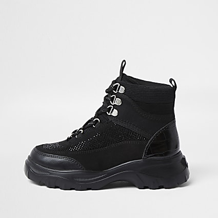 Girls black hiker ankle boot