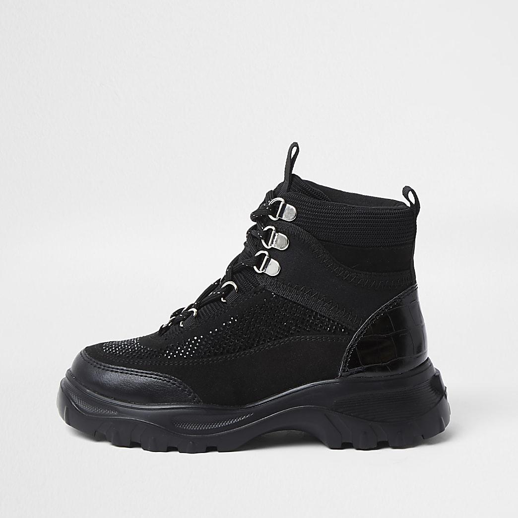 Girls black hiker ankle boot