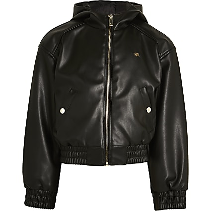 Girls black hooded bomber jacket