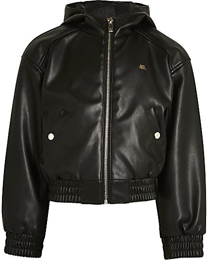 Girls black hooded bomber jacket