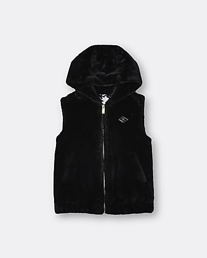 Girls black hooded faux fur gilet