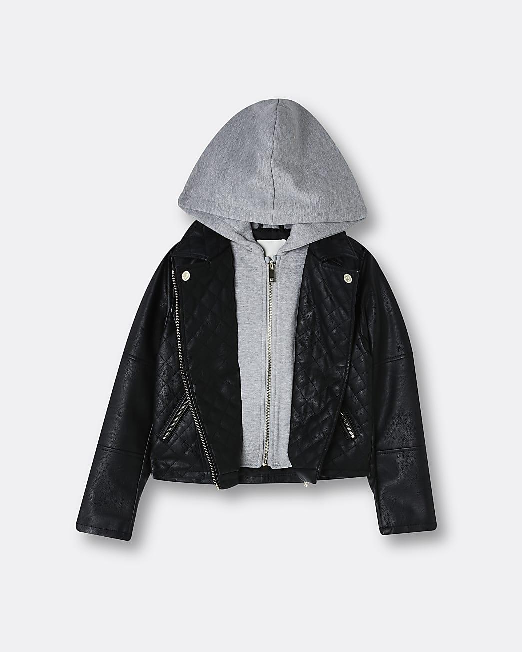 Girls black hooded faux leather biker jacket