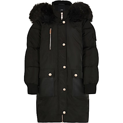 Girls black hooded parka