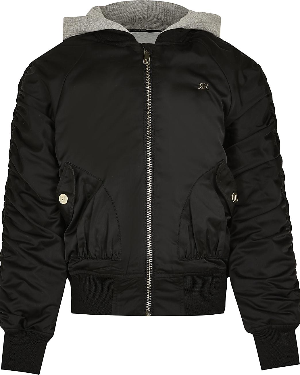Girls black hooded ruched bomber jacket