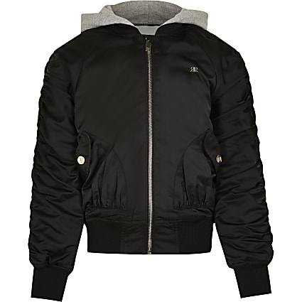 Girls black hooded ruched bomber jacket