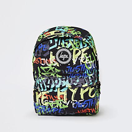 Girls black Hype graffiti print backpack