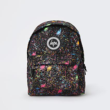 Girls black Hype splatter paint backpack