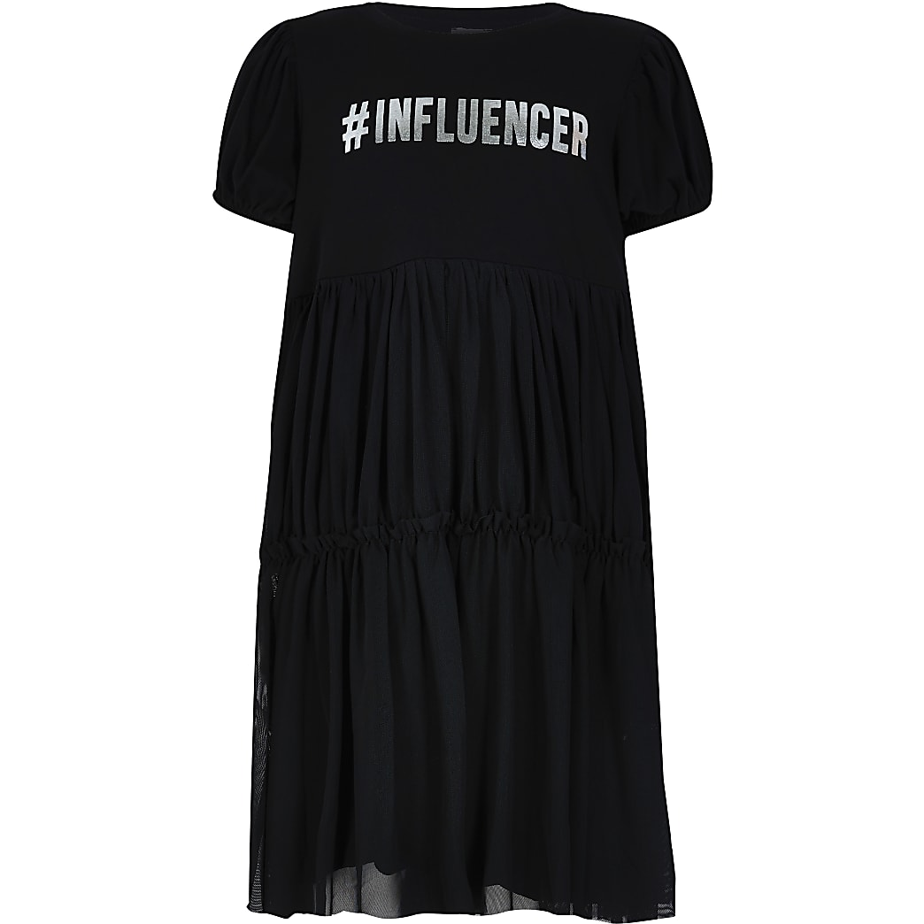 Girls black 'Influencer' t-shirt dress