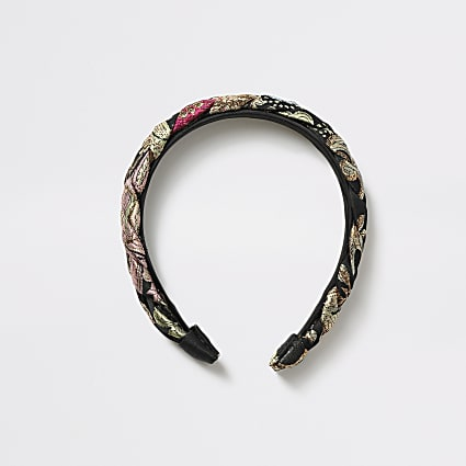 Girls black jacquard floral plait headband