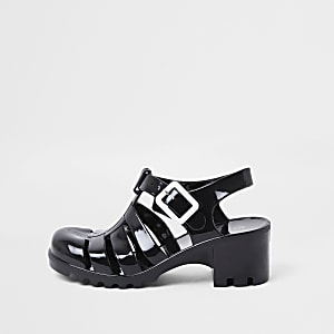 Girls Black Jelly Caged Heeled Sandal