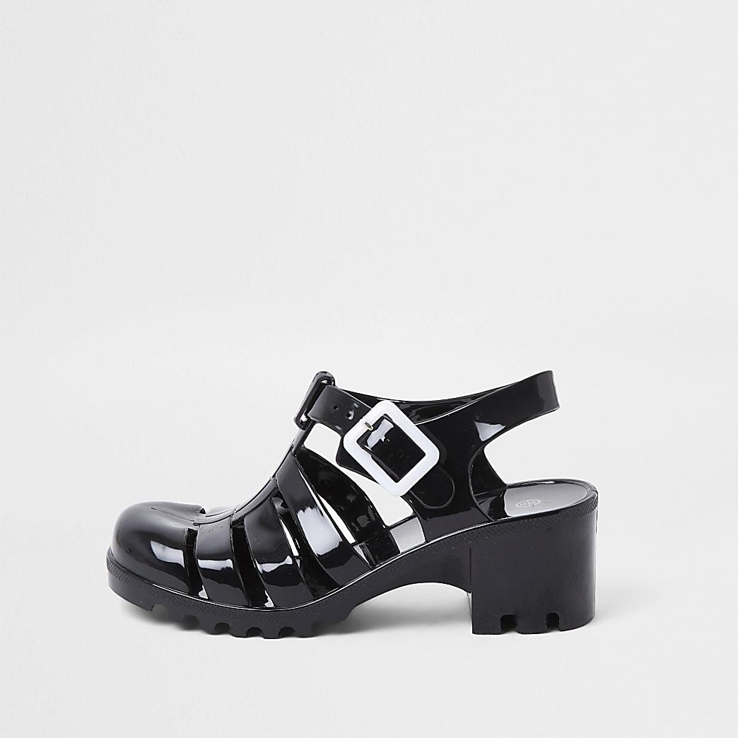 Girls Black Jelly Caged Heeled Sandal