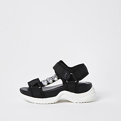 Girls black jewelled sandals