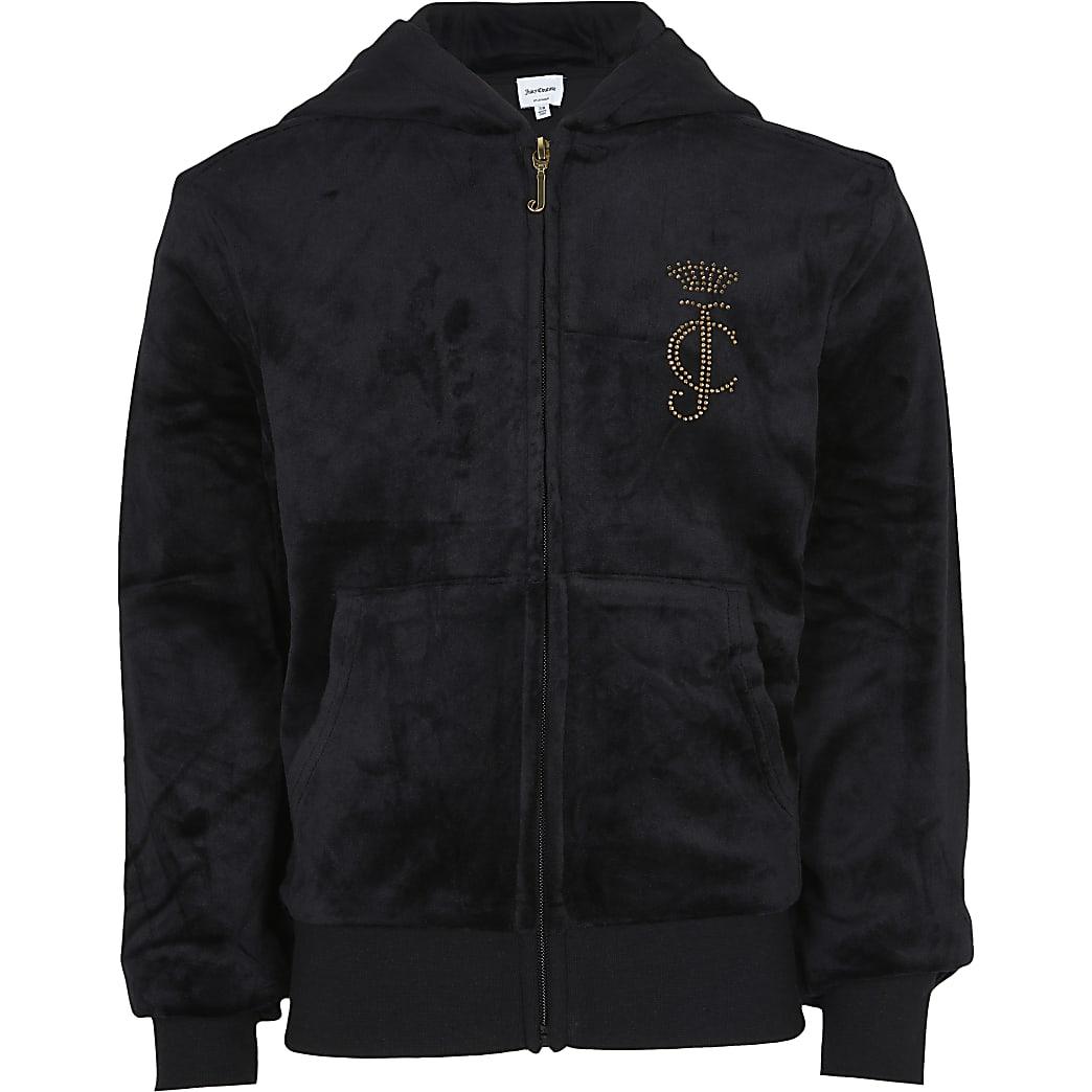 Girls black Juicy Couture long sleeve hoodie