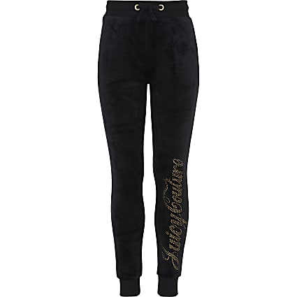 Girls black Juicy Couture Velour joggers