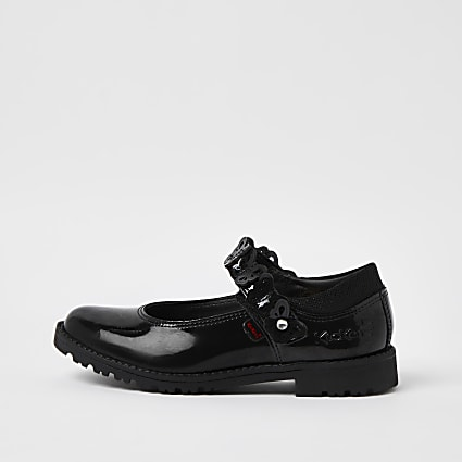 Girls black Kickers butterfly patent shoes