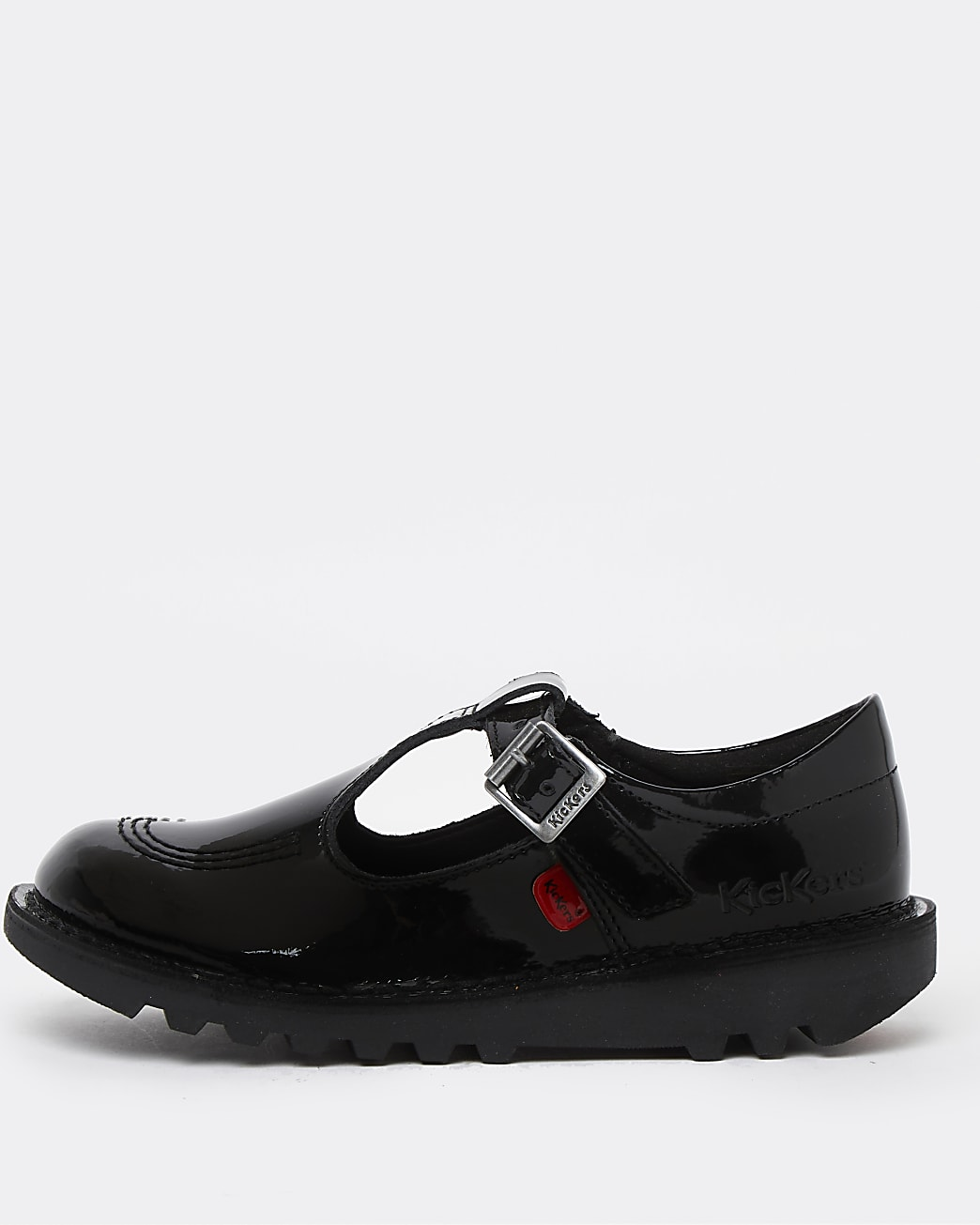 Girls black Kickers patent cut out shoes