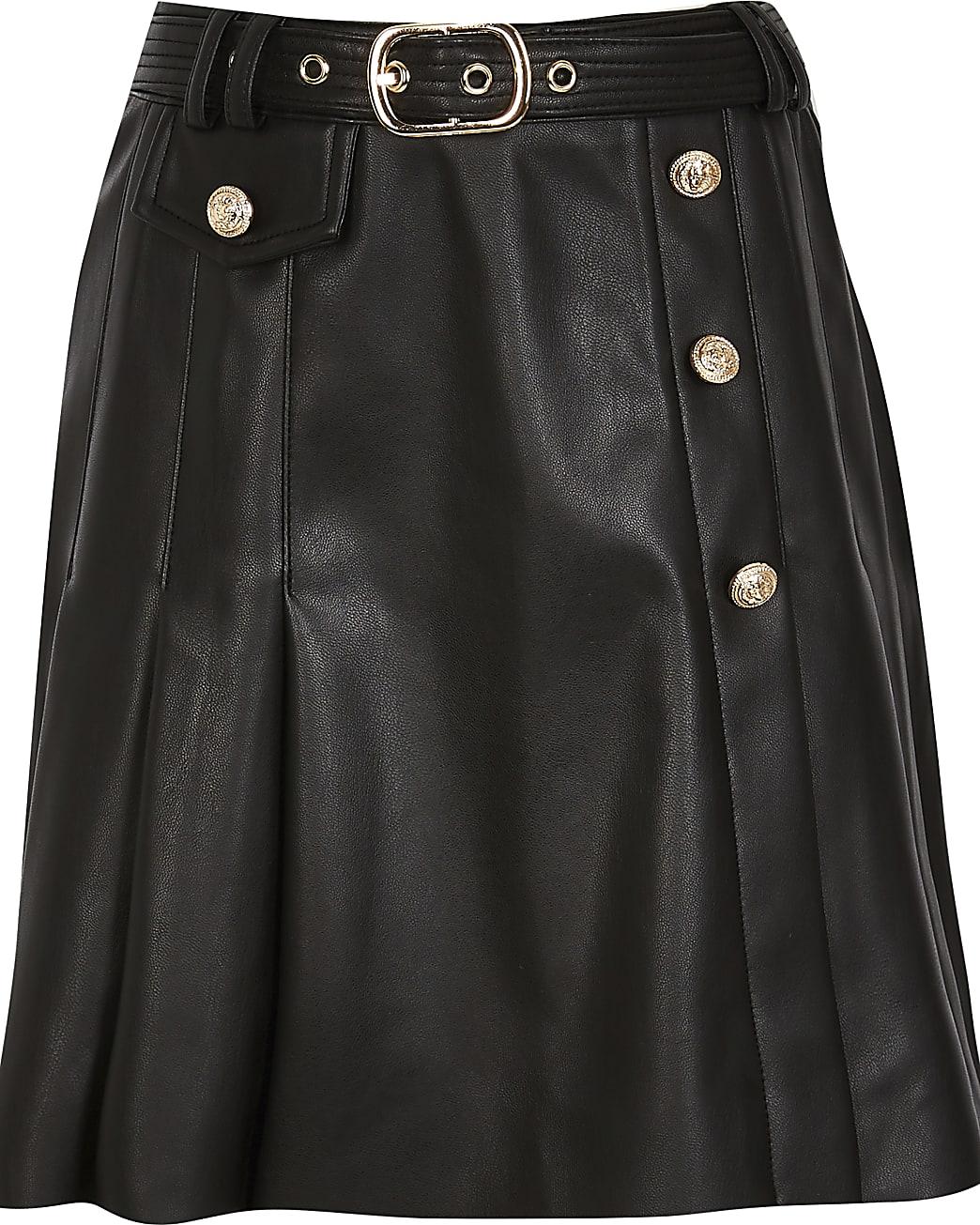 Girls black kilt pleat skirt