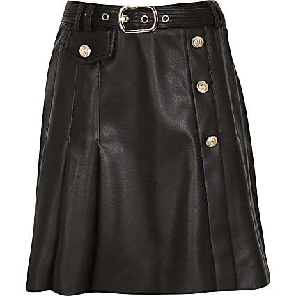 Girls black kilt pleat skirt
