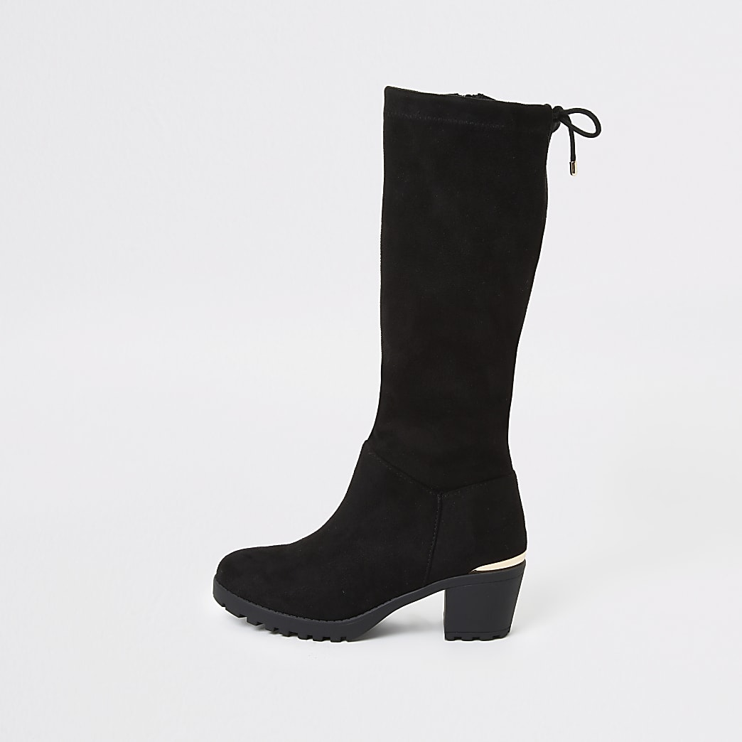 Girls black knee high boots