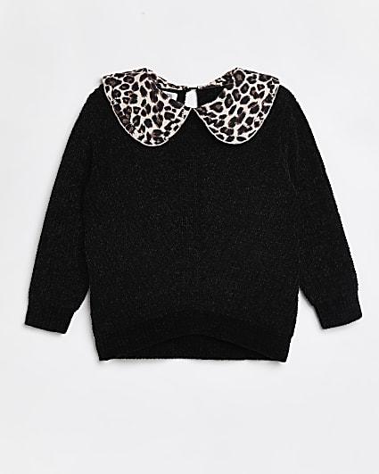 Girls black knit leopard print collar jumper