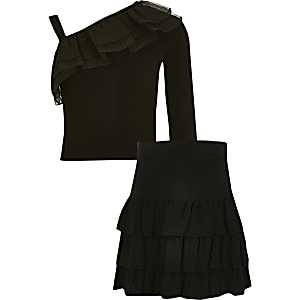 Girls black knitted frill rara skirt outfit