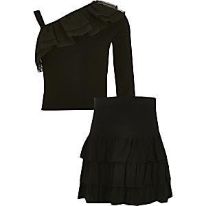 Zwarte gebreide rara-rok outfit met ruches voor meisjes