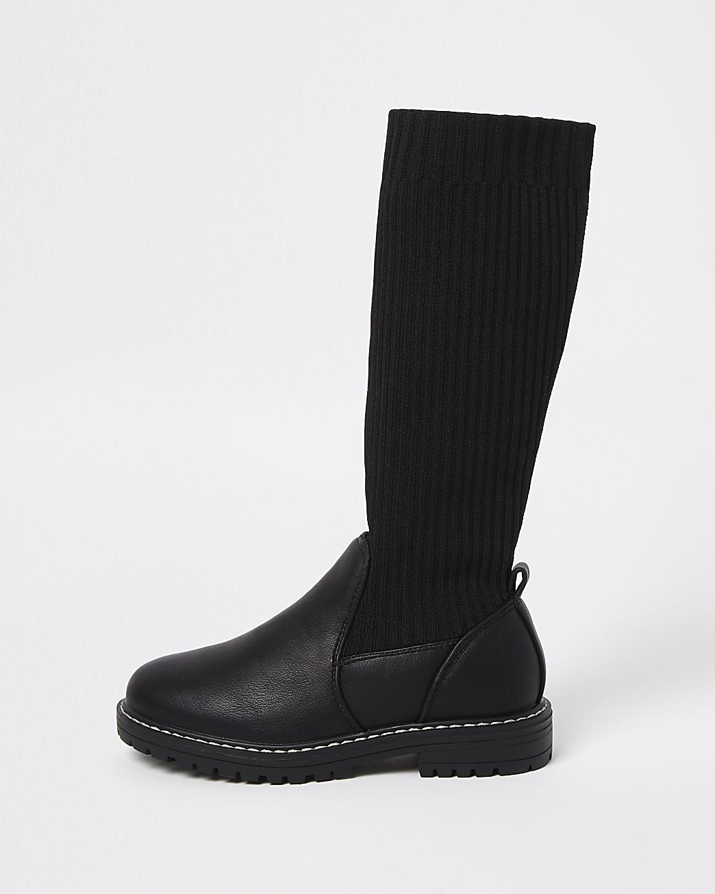 Girls black knitted high leg boots