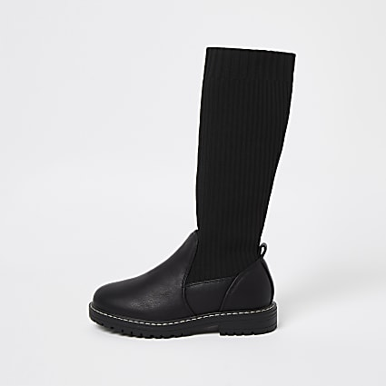 Girls black knitted high leg boots